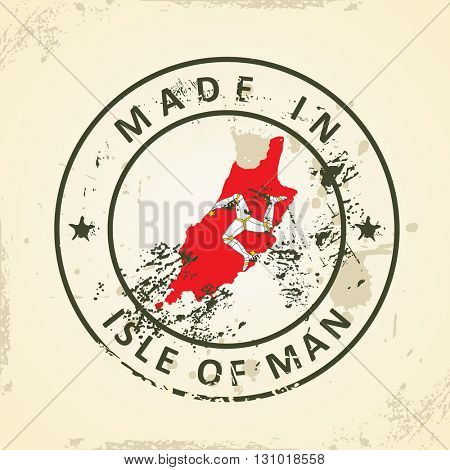 Grunge stamp with map flag of Isle of Man - vector illustration