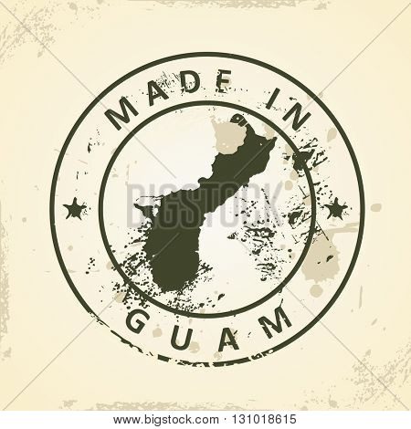 Grunge stamp with map of Guam - vector illustration