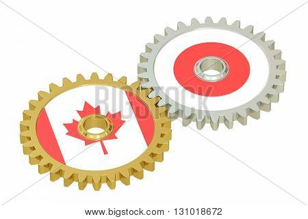 Canadian and Japanese flags on a gears 3D rendering isolated on white background