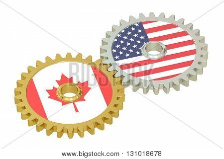 Canadian and United States relations concept flags on a gears. 3D rendering isolated on white background
