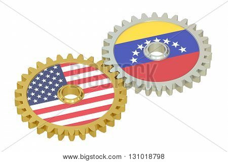 Venezuela and United States relations concept flags on a gears. 3D rendering isolated on white background