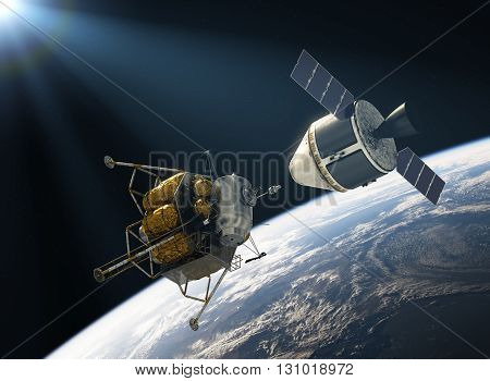 Crew Exploration Vehicle Docking In Space. 3D Illustration.