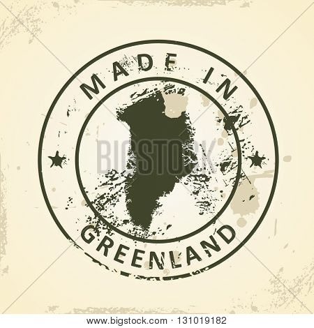 Grunge stamp with map of Greenland - vector illustration