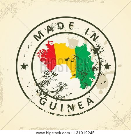 Grunge stamp with map flag of Guinea - vector illustration