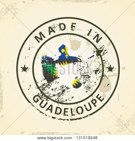 Grunge stamp with map flag of Guadeloupe - vector illustration