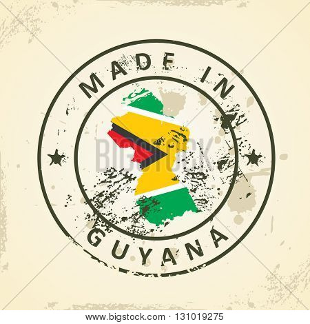 Grunge stamp with map flag of Guyana - vector illustration