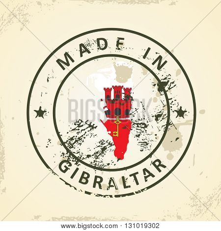 Grunge stamp with map flag of Gibraltar - vector illustration