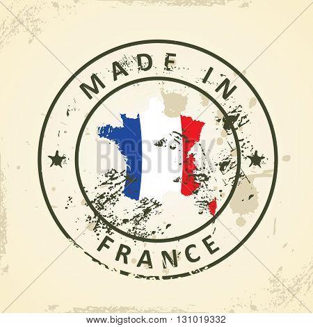 Grunge stamp with map flag of France - vector illustration