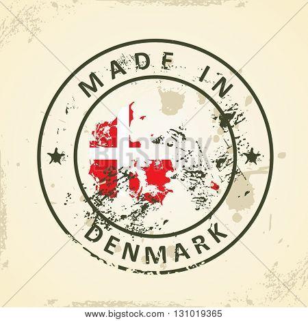 Grunge stamp with map flag of Denmark - vector illustration