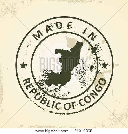 Grunge stamp with map of Republic of Congo - vector illustration