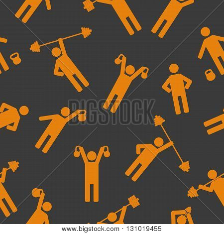Seamless background with athletes performing exercises with sports equipment vector illustration.