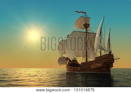 Caravel In The Ocean. Realistic 3D Illustration.