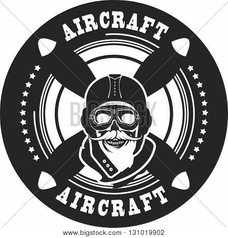 Vector emblem in retro style on a background of a dead pilot propeller aircraft a skull wearing black and white helmet