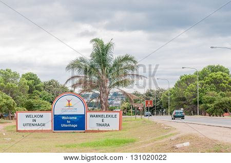 UITENHAGE SOUTH AFRICA - MARCH 7 2016: Welcome sign at the entrance of Uitenhage an industrial town in the Nelson Mandela Bay Metropolitan Municipality in the Eastern Cape Province