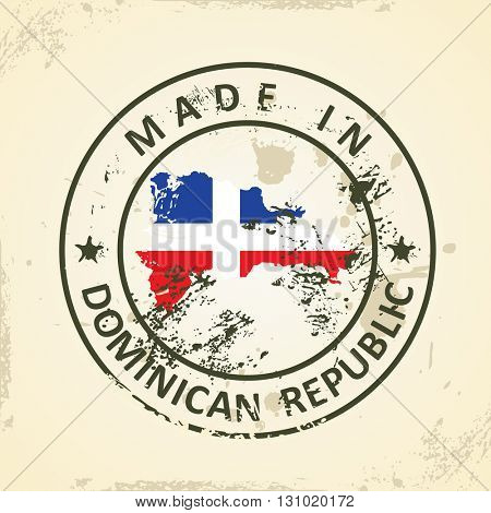 Grunge stamp with map flag of Dominican Republic - vector illustration