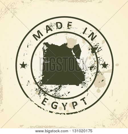 Grunge stamp with map of Egypt - vector illustration