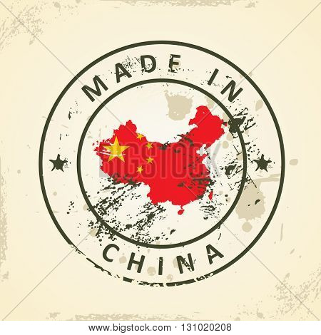 Grunge stamp with map flag of China - vector illustration