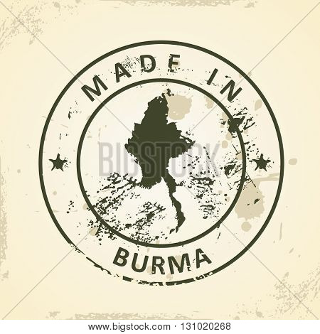 Grunge stamp with map of Burma - vector illustration