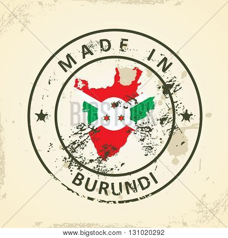 Grunge stamp with map flag of Burundi - vector illustration