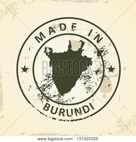 Grunge stamp with map of Burundi - vector illustration