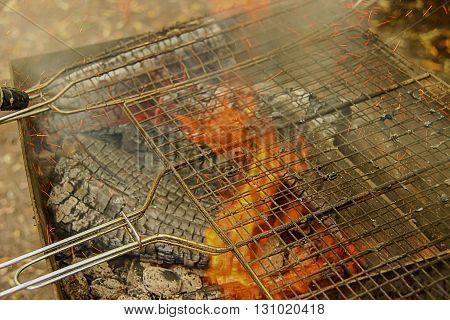 Barbecue Grill Fire Close-up of cooking meat