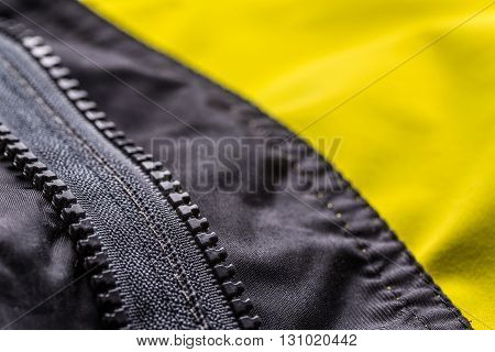 Close up of zipper on jacket, background