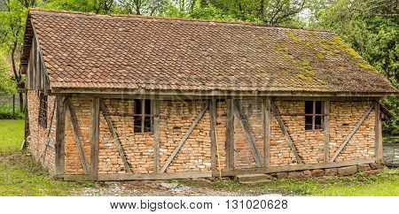 Abandoned Croft Cottage with old roof, countryside