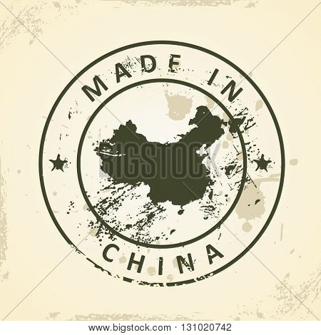 Grunge stamp with map of China - vector illustration