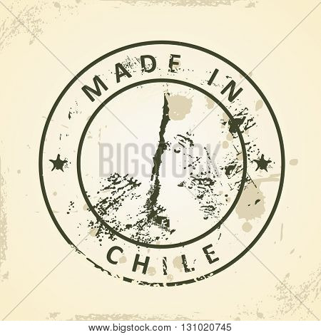 Grunge stamp with map of Chile - vector illustration