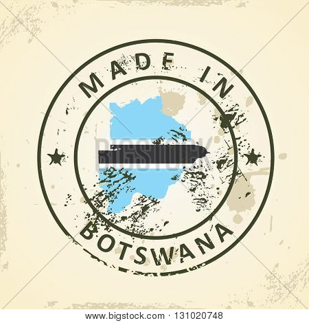 Grunge stamp with map flag of Botswana - vector illustration