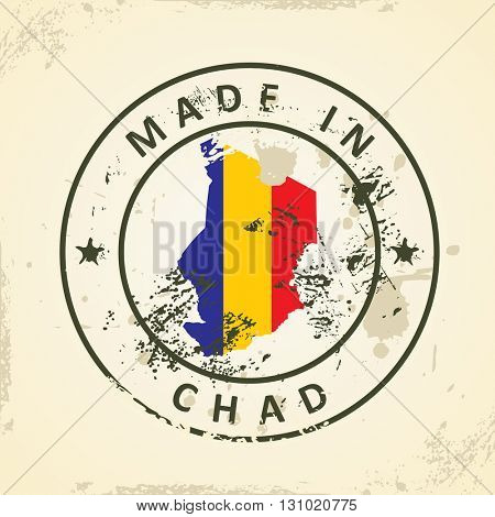 Grunge stamp with map flag of Chad - vector illustration