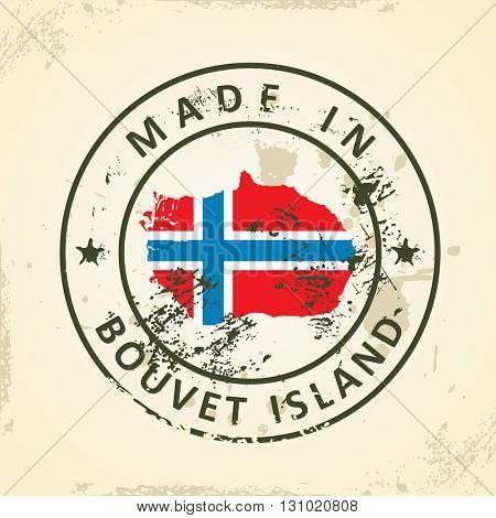 Grunge stamp with map flag of Bouvet Island - vector illustration
