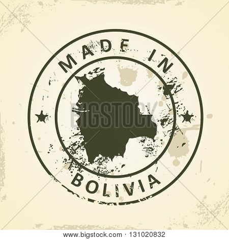 Grunge stamp with map of Bolivia - vector illustration