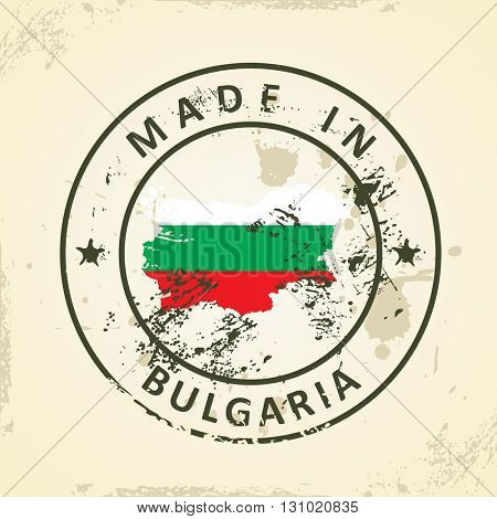 Grunge stamp with map flag of Bulgaria - vector illustration