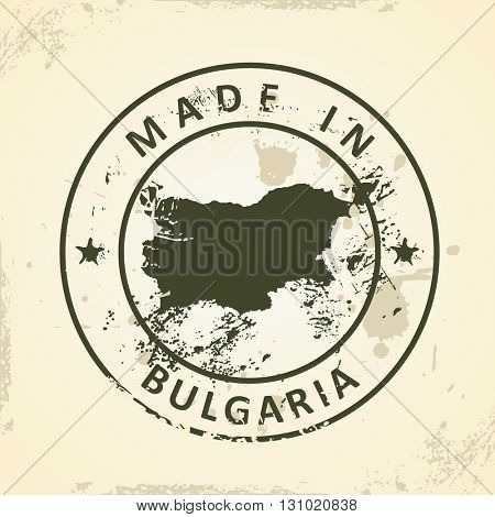 Grunge stamp with map of Bulgaria - vector illustration