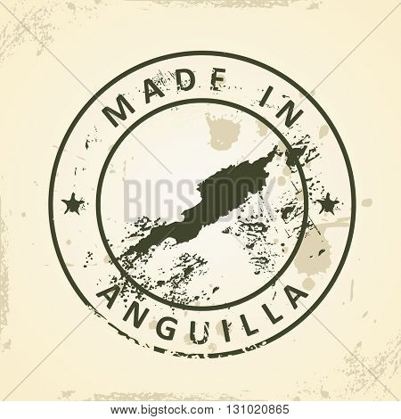 Grunge stamp with map of Anguilla - vector illustration