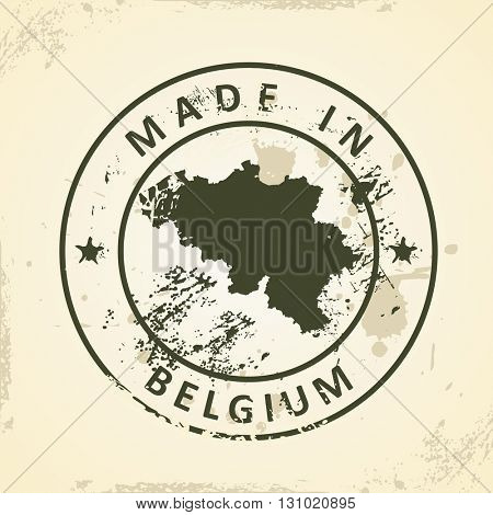 Grunge stamp with map of Belgium - vector illustration