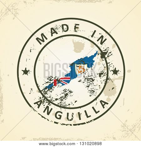 Grunge stamp with map flag of Anguilla - vector illustration