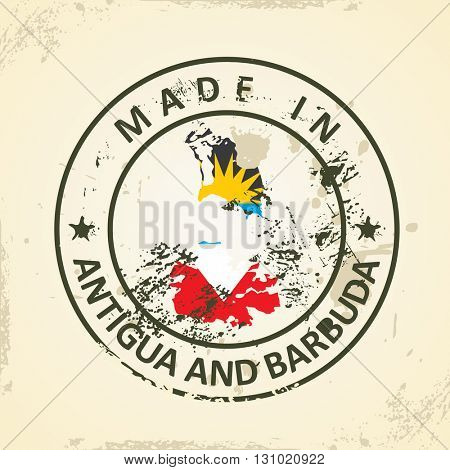 Grunge stamp with map flag of Antigua and Barbuda - vector illustration