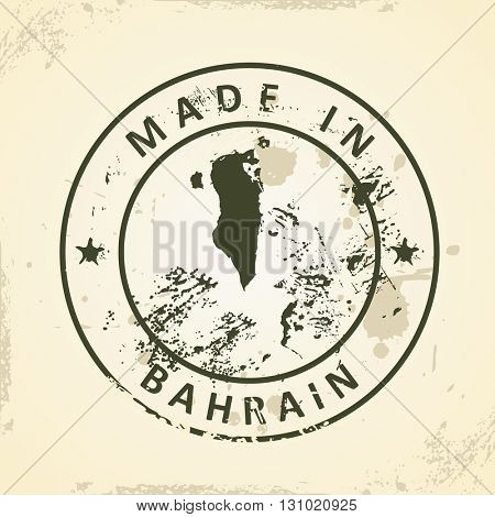 Grunge stamp with map of Bahrain - vector illustration