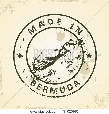 Grunge stamp with map of Bermuda - vector illustration