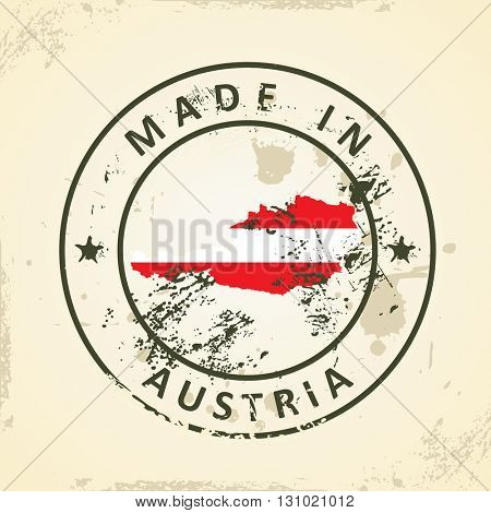Grunge stamp with map flag of Austria - vector illustration