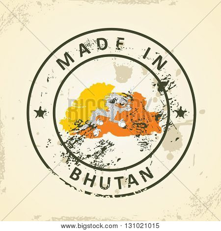 Grunge stamp with map flag of Bhutan - vector illustration