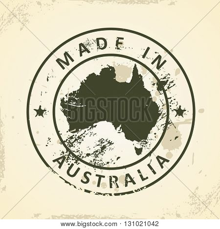 Grunge stamp with map of Australia - vector illustration
