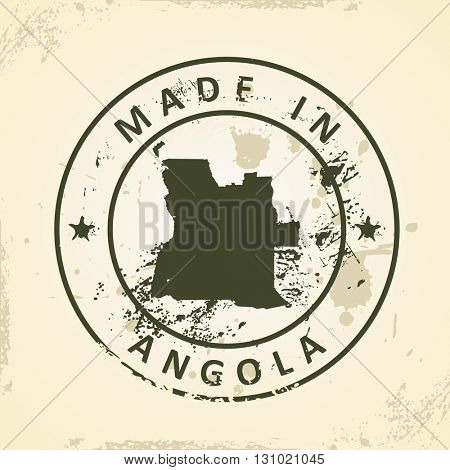 Grunge stamp with map of Angola - vector illustration