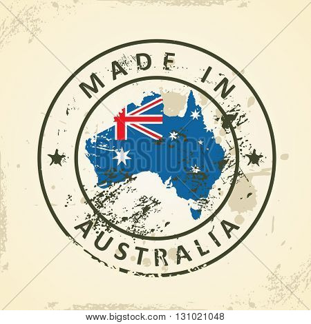 Grunge stamp with map flag of Australia - vector illustration