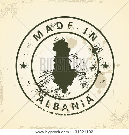 Grunge stamp with map of Albania - vector illustration