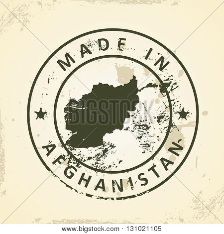Grunge stamp with map of Afghanistan - vector illustration