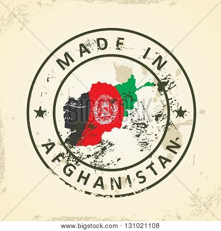 Grunge stamp with map flag of Afghanistan - vector illustration