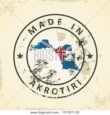 Grunge stamp with map flag of Akrotiri - vector illustration